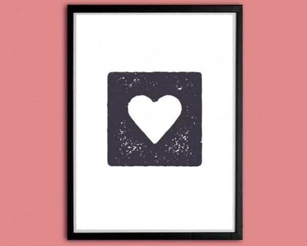Symbol Druck | Herz im Quadrat, Stempeloptik