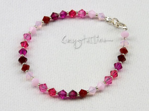Kinder Armband mit Swarovski Elements® Perlen | rose-pink | Kristall, 925 Silber