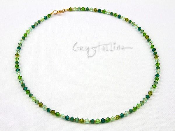 Kette kurz | Kristall-Collier | mit Swarovski Elements® Kristallen | Grüntöne | 925 Sterling Silber Schließe vergoldet