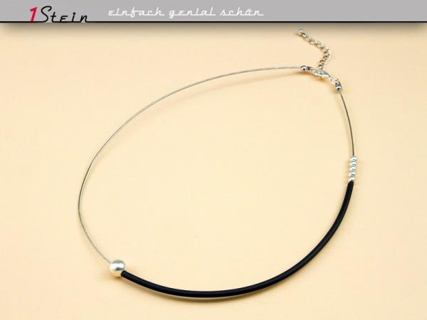 Kurze Halskette | Collier | Kautschuk + Metall, verschiebbar