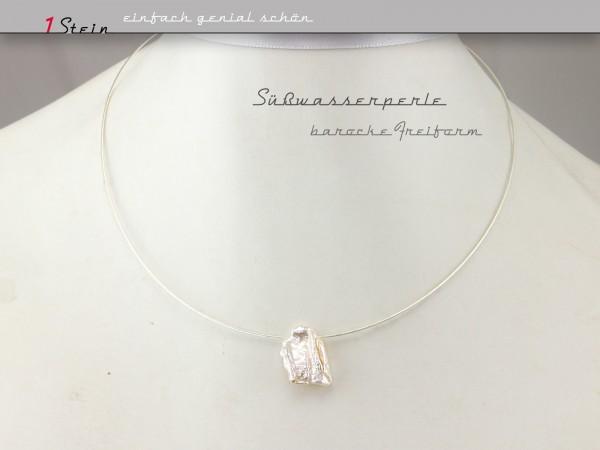 Brautkette | Brautcollier | barocke Süßwasserperle in Freiform | Wunschlänge