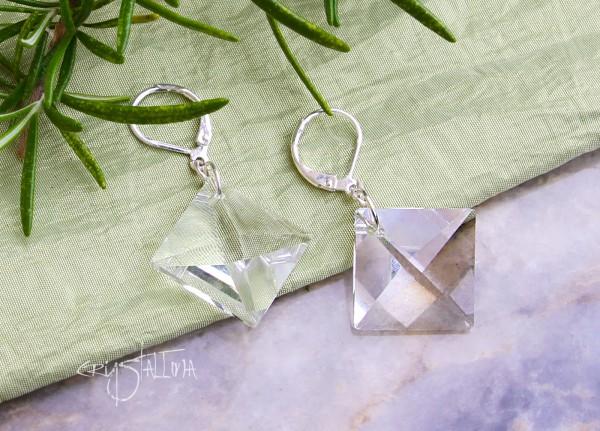 Ohrringe | Klare Kristallrauten, 925 Silber, Brautschmuck