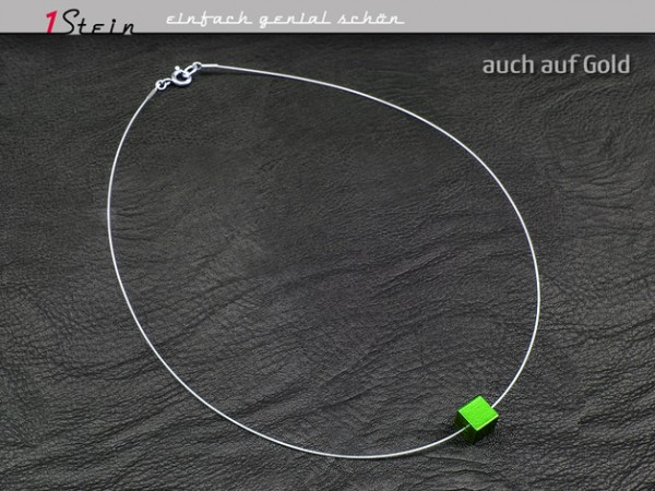 Halskette | Draht Collier | Aluminium Würfel | Juwelierdraht versilbert | grün