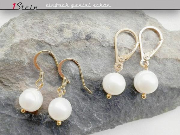 Hochzeitsschmuck | Ohrringe | Ohrhänger aus Süßwasserperlen, barock, gold