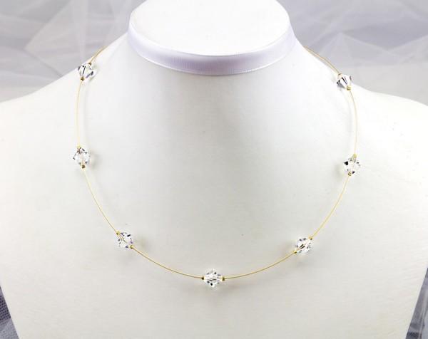 Collier mit Swarovski Elements® Kristallen | klar weiß | auf vergoldetem Juwelierdraht | auf Maß