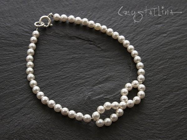 Perlenarmband *Infinity* | Brautschmuck mit Swarovski Elements® Kristallperlen, weiß