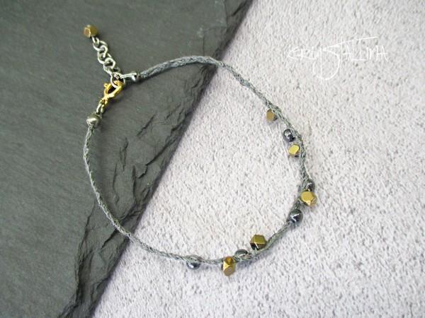 Feines Seidenarmband | zart, bicolor, grau, gold | Wunschlänge