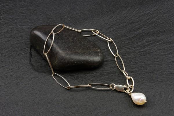 Gliederarmband | 925 Sterling Silber mit Perlenanhänger