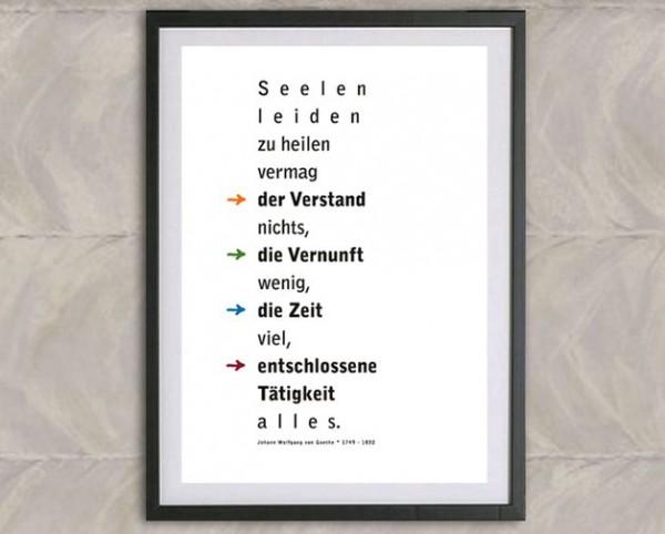 Typo Druck | *Seelenleiden heilen*, Goethe Zitat