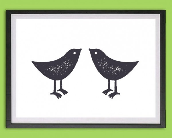 "Grafik Druck | ""Freunde"", Vogelpaar"