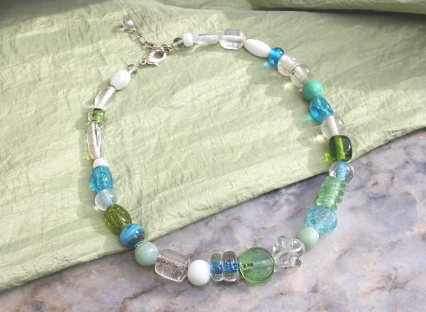 Kette kurz | Collier | Glasperlen | Wasserfarben, blau - grün | ca. 50cm
