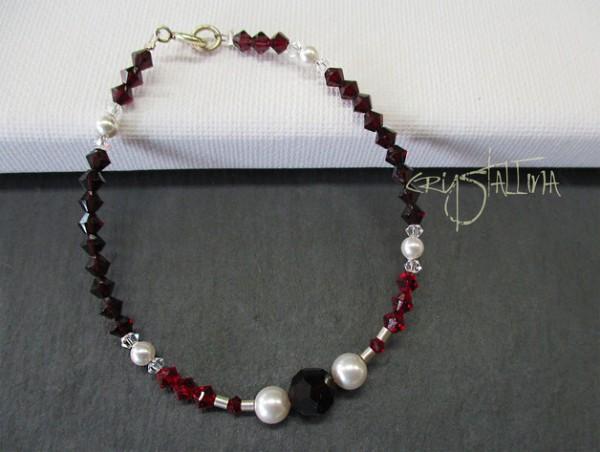Kristallarmband mit Swarovski Elements® Perlen | siamrot + perlweiß, 925 Silber