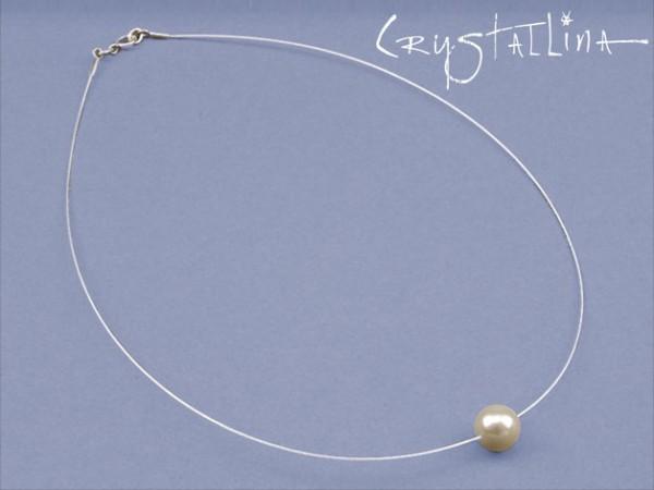Draht-Collier | Brautschmuck | Swarovski Elements® Perle auf Juwelierdraht