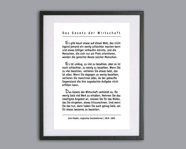 Typo Druck | Das Gesetz der Wirtschaft | J. Ruskin