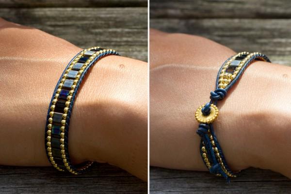 Armband | Lederarmband | Wrap aus Tila Perlen blau - gold