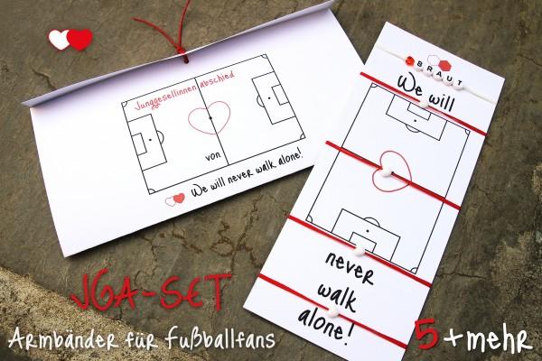 JGA Armbänder für Fußballfans | Schmuck-Set: 5 + mehr | Vereinsfarbe rot-weiß, mit Herz