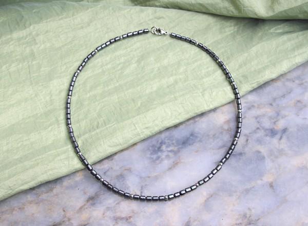 Halskette | Dezenter Herrenschmuck, Hämatit, grau