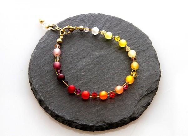 Armband | Regenbogenfarben | mit Swarovski Elements® und Polarisperlen | rot-gelb