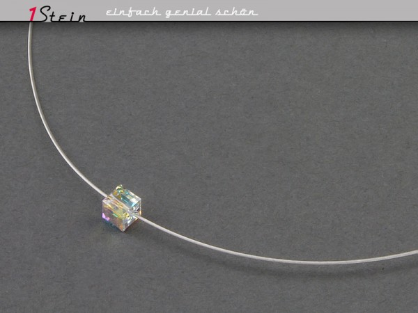 Draht-Collier | mit Swarovski Elements® Kristallwürfel | Juwelierdraht | Sterling Silber Schließe