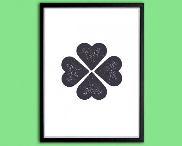 Symbol Druck | Glücksklee, Stempeloptik