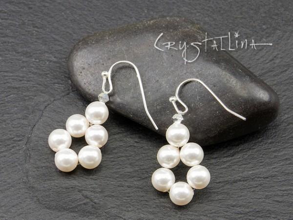 Ohrhänger | mit Swarovski Elements® | weiße Perlentröpfchen, 925 Silber