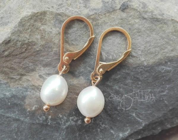 Ohrringe | Ohrhänger | Brautschmuck | weiße Süßwasserperlen | Sterling Silber vergoldet