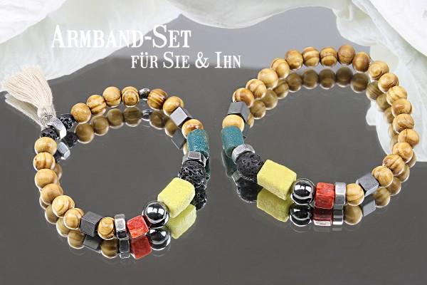Armband Schmuckset BUNT für Sie & Ihn | Elastik