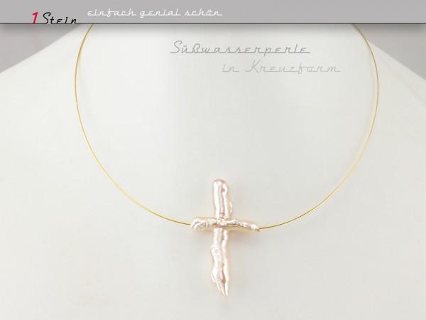 Collier kurz | Hochzeit + Brautschmuck | Perle in Kreuzform lachs