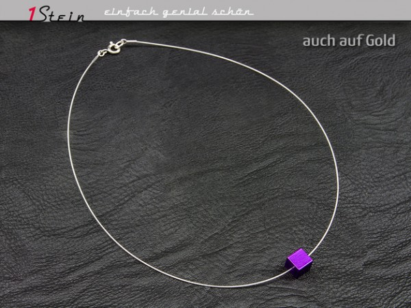 Halskette | Draht Collier | Aluminium Würfel | Juwelierdraht versilbert | Lila