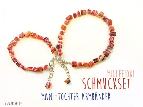 Mutter-Tochter Armbandset | rote Millefiori Splitter