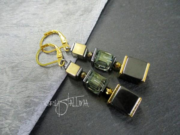 Ohrringe | Würfel-Ohrhänger | Hämatit + Glasschliff
