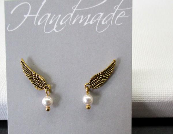 Ohrstecker | Goldflügel mit Perlchen von Swarovski Elements®