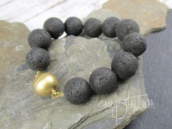 Klunker Armband Edelsteine | Lava + Magnet, schwarz + gold