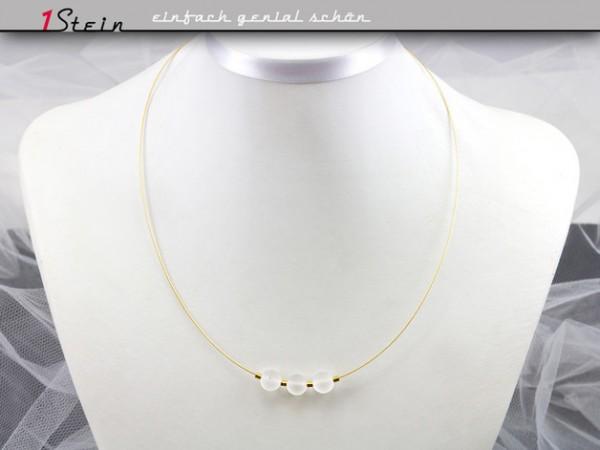 Halskette kurz | Gold-Collier | Brautschmuck | Bergkristall, mattweiß