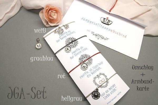JGA | Armband Set, 4 + mehr mit Braut Charm | Armbänder ' Sonne - Sterne - Liebe ' mit Zitat von Shakespeare