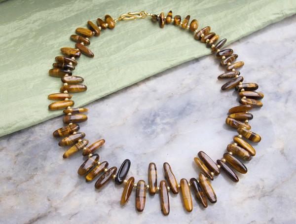 Edelsteinkette | Tigerauge Collier | Zähne, kopfgebohrt, braun