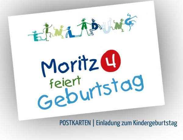 Einladungskarten zum Kindergeburtstag, Grün-Blau