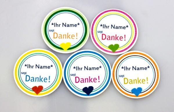 Anhänger | Etikett | Danke | personalisiert mit Ihrem Namen | farbsortiert | Papier weiß | 160g