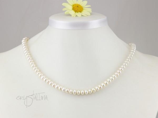 Brautschmuck | Perlenkette | Halskette kurz | klassisch, weiß, Button, 925 Silber