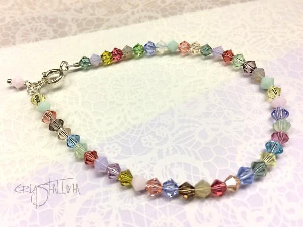 Zierliches Armband mit Swarovski-Kristallen, pastell, 925 Silber