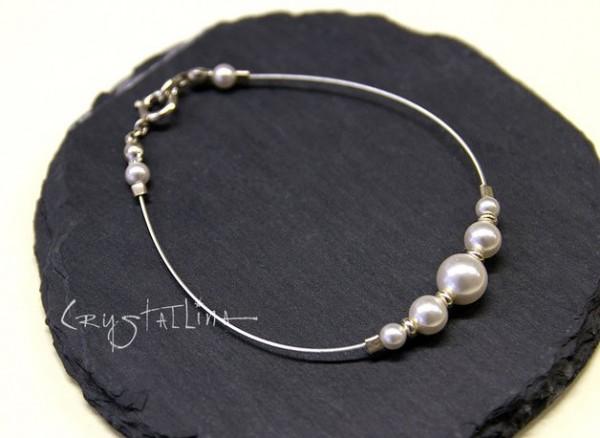 Perlenarmband | Brautschmuck aus Swarovski Elements® Perlen | crystal white