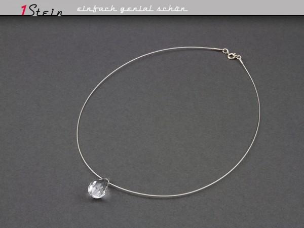 Draht-Collier mit Swarovski Elements® Perle | Kristalltropfen | Juwelierdraht