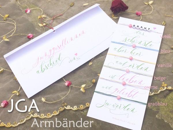 SET 6 + mehr: JGA Armbänder, Braut, rosa Herzchen