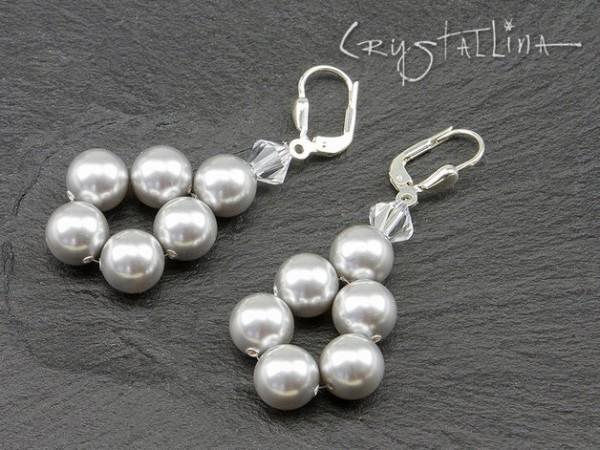 Ohrhänger | mit Swarovski Elements® Perlen | Perlentropfen in grau, 925 Silber