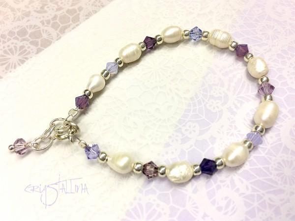 Armband für Mädchen | mit Süßwasser- & Swarovskiperlen, weiß, lila