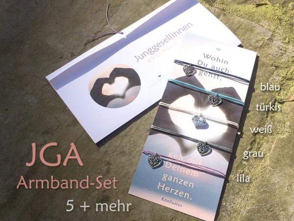 JGA Armbänder | SET: 5 + mehr, Silberherz