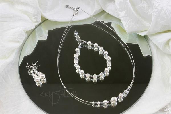 Schmuckset: Kette | Armband | Ohrhänger | mit Swarovski-Perlen, Hämatit, Stahl, silber, weiß