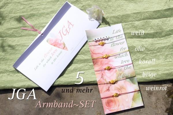 JGA SET | 5 + mehr: GOLDBLUMEN JGA-Armbänder, Braut