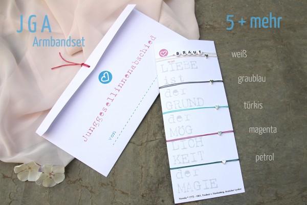 JGA SET | 5 + mehr: SILBERHERZ JGA-Armbänder, Braut