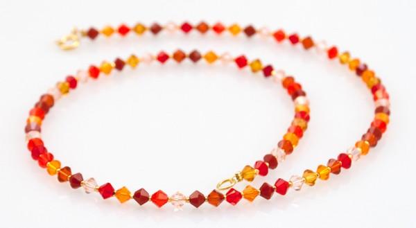 Collier mit Swarovski Elements® Kristallen | Rot- und Orangetöne auf Gold